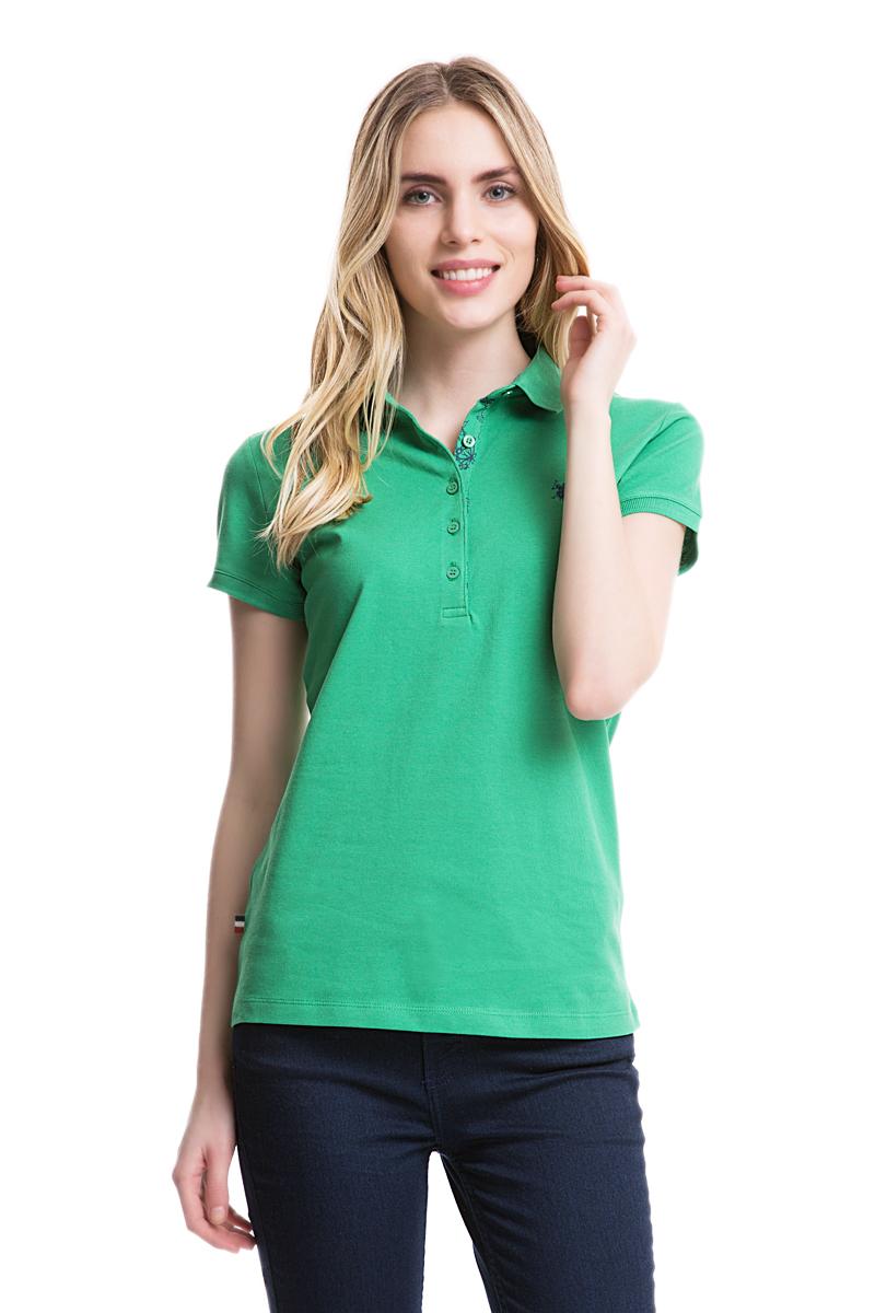 Поло женское U.S. Polo Assn., цвет: зеленый. G082SZ0110TP01IY05-011. Размер S (44)G082SZ0110TP01IY05-011Стильная футболка-поло с короткими рукавами и отложным воротником выполнена из натурального эластичного хлопка. На груди модель застегивается на пуговицы.