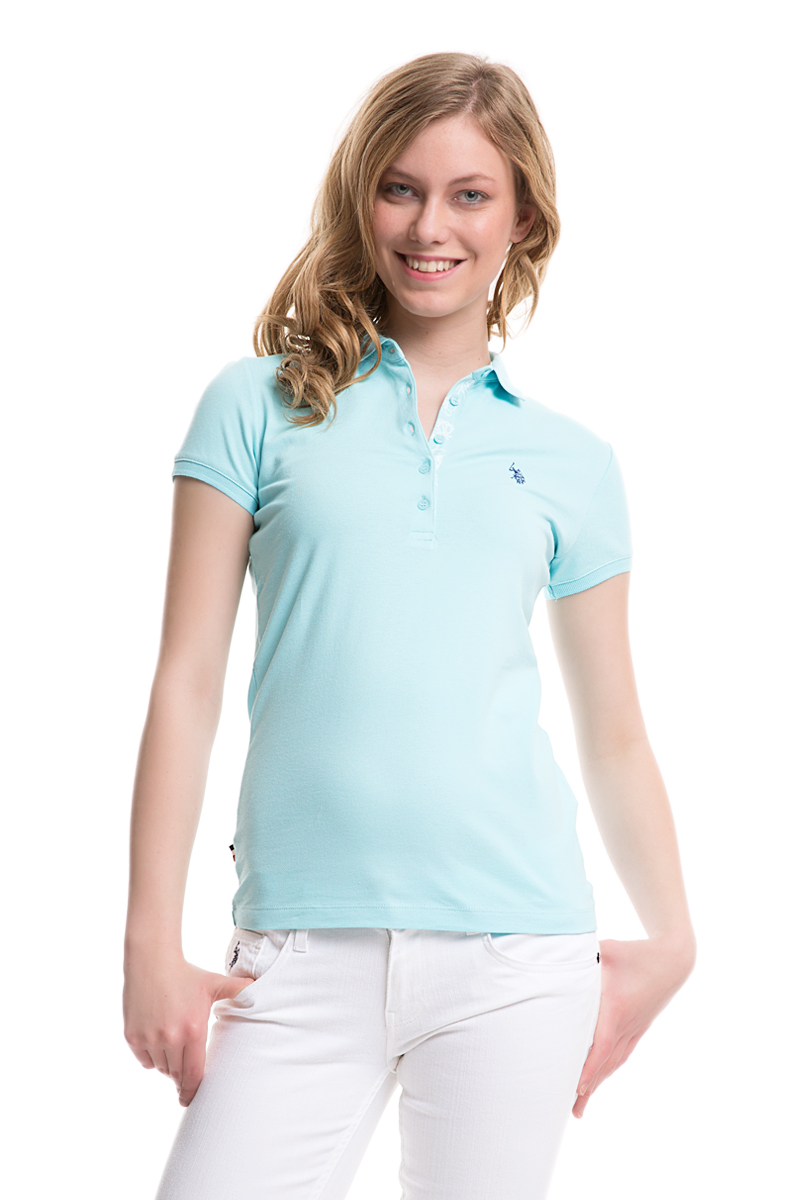 Поло женское U.S. Polo Assn., цвет: мятный. G082SZ0110TP01IY05-011. Размер XL (50)G082SZ0110TP01IY05-011Стильная футболка-поло с короткими рукавами и отложным воротником выполнена из натурального эластичного хлопка. На груди модель застегивается на пуговицы.
