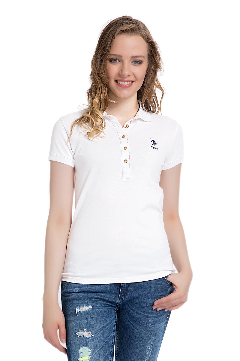 Поло женское U.S. Polo Assn., цвет: белый. G082SZ0110TP01IY06-011. Размер M (46)G082SZ0110TP01IY06-011Стильная футболка-поло с короткими рукавами и отложным воротником выполнена из натурального эластичного хлопка. На груди модель застегивается на пуговицы.