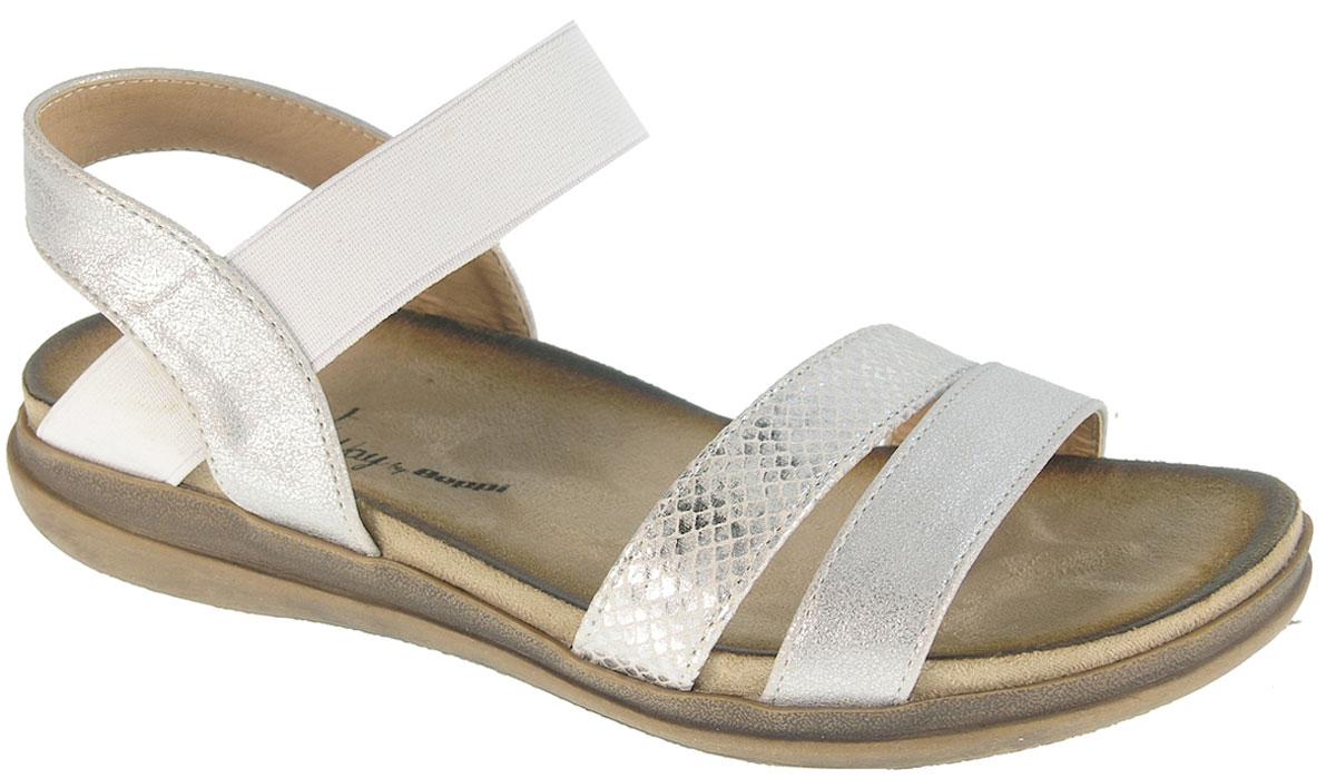 Сандалии женские Beppi, цвет: серебристый. 2154651. Размер 37 (36)2154651Модные женские сандалии от Beppi выполнены искусственной кожи. Эластичный ремешок на подъеме для надежной фиксации модели на ноге. Внутренняя поверхность из искусственной кожи не натирает. Подошва дополнена рифлением.