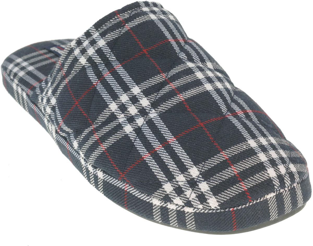 Тапки мужские Beppi, цвет: темно-серый, белый, красный. 2147310. Размер 42 (41)2147310Мужские домашние тапки от Beppi полностью выполнены из текстиля с оригинальным принтом. Подошва дополнена рифлением.