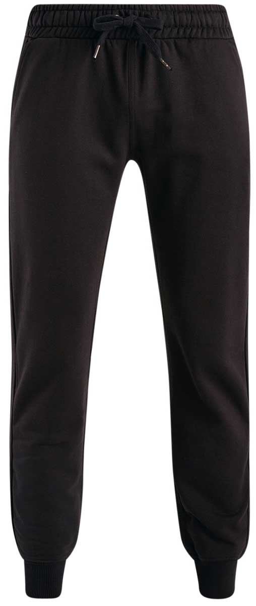 Брюки спортивные мужские oodji Basic, цвет: черный. 5B200003M/44119N/2900N. Размер XS (44)5B200003M/44119N/2900NМужские спортивные брюки oodji Basic, выполненные из высококачественного материала, великолепно подойдут для отдыха, повседневной носки, а также для занятий спортом. Брюки зауженного к низу кроя и средней посадки имеют широкую эластичную резинку на поясе, объем талии регулируется при помощи шнурка-кулиски. Спереди изделие имеет два втачных кармана, а сзади накладной карман. Низ брючин дополнен широкими манжетами.