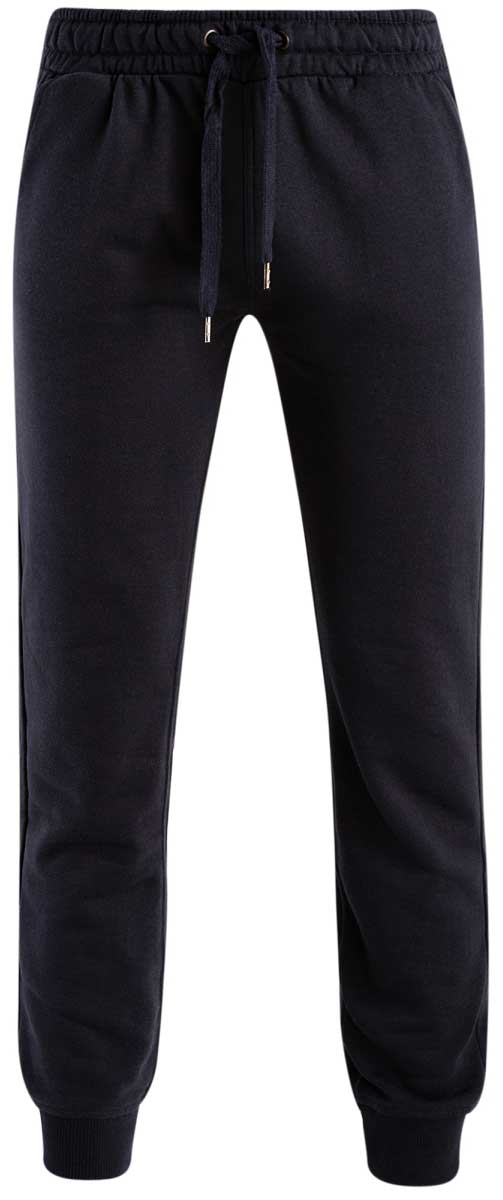 Брюки спортивные мужские oodji Basic, цвет: темно-синий. 5B200003M/44119N/7900N. Размер M (50)5B200003M/44119N/7900NМужские спортивные брюки oodji Basic, выполненные из высококачественного материала, великолепно подойдут для отдыха, повседневной носки, а также для занятий спортом. Брюки зауженного к низу кроя и средней посадки имеют широкую эластичную резинку на поясе, объем талии регулируется при помощи шнурка-кулиски. Спереди изделие имеет два втачных кармана, а сзади накладной карман. Низ брючин дополнен широкими манжетами.