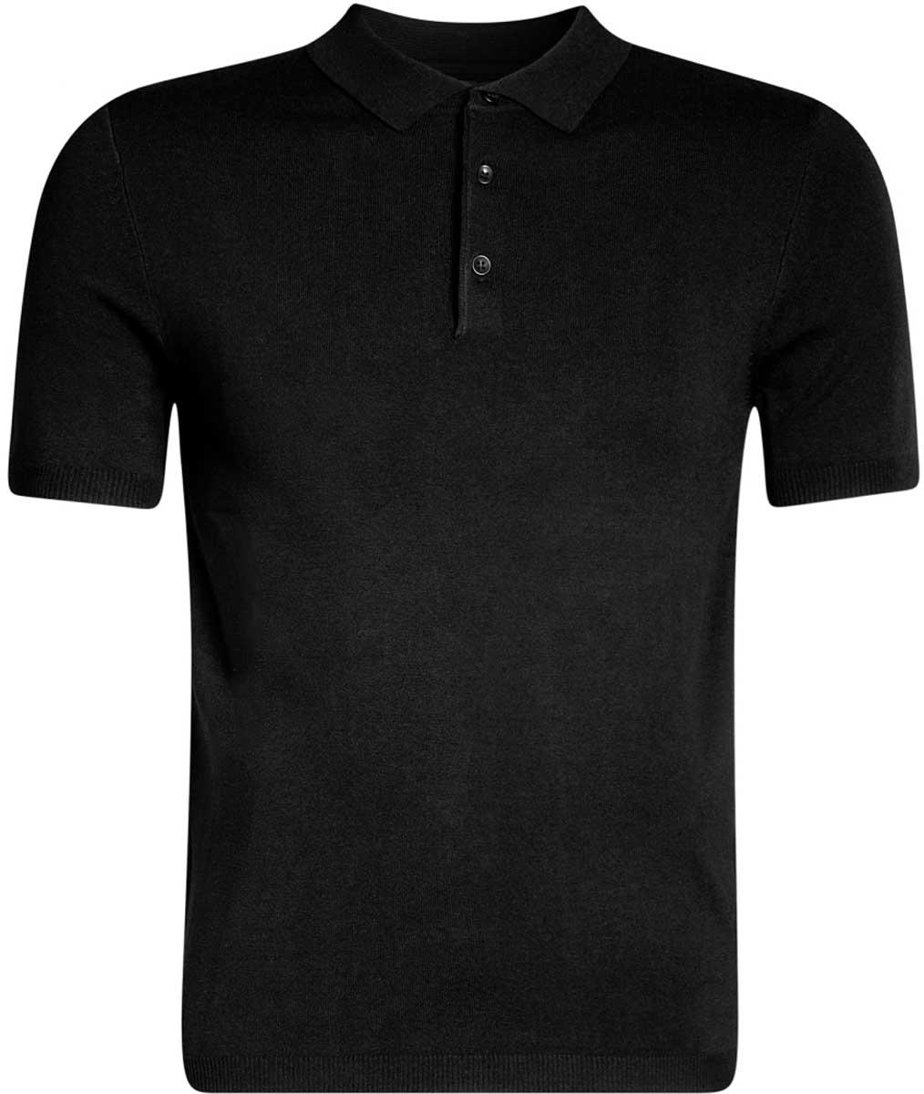 Поло мужское oodji Basic, цвет: черный. 4B512002M/39795N/2900N. Размер S (46/48)4B512002M/39795N/2900NВязаноеполо с коротким рукавом и отложным воротником на груди застегивается на пуговицы.