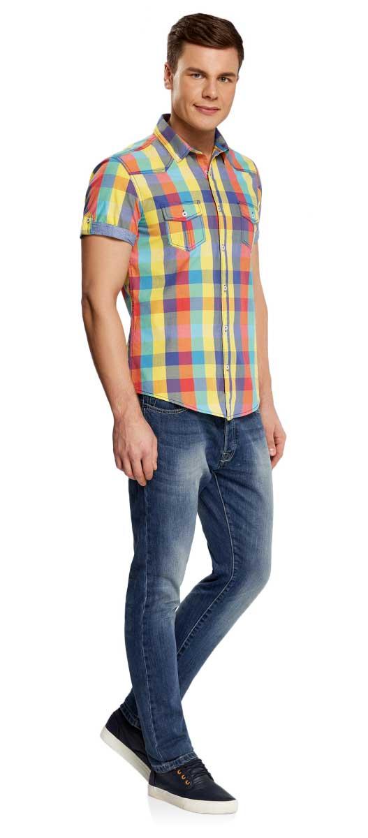 Рубашка мужская oodji Lab, цвет: желтый, красный, синий. 3L410066M/39680N/1900C. Размер L-182 (52/54-182)3L410066M/39680N/1900CМужская рубашка от oodji выполнена из натурального хлопка. Модель с короткими рукавами и нагрудными карманами застегивается на пуговицы.