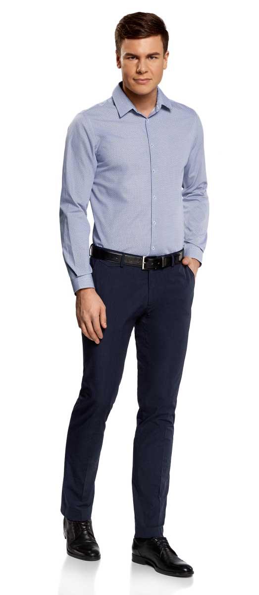 Рубашка мужская oodji Lab, цвет: белый, темно-синий. 3L110249M/44425N/1079G. Размер 42-182 (52-182)3L110249M/44425N/1079GМужская рубашка от oodji выполнена из натурального хлопка. Модель приталенного кроя с длинными рукавамизастегивается на пуговицы.