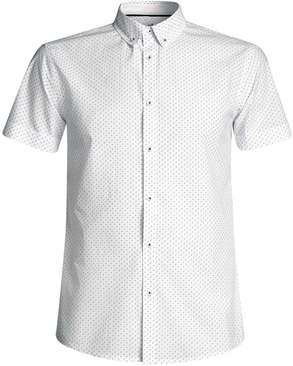 Рубашка мужская oodji Lab, цвет: белый, синий. 3L410095M/39312N/1075G. Размер L-182 (52/54-182)3L410095M/39312N/1075GМужская рубашка от oodji выполнена из натурального хлопка. Модель с короткими рукавами застегивается на пуговицы.