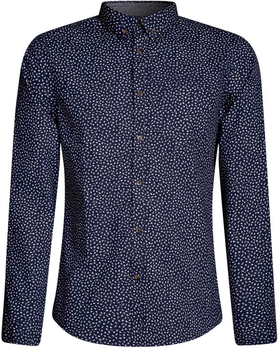 Рубашка мужская oodji Lab, цвет: темно-синий, белый. 3L310140M/39312N/7910F. Размер S-182 (46/48-182)3L310140M/39312N/7910FМужская рубашка от oodji выполнена из натурального хлопка. Модель прямого кроя с длинными рукавами застегивается на пуговицы.