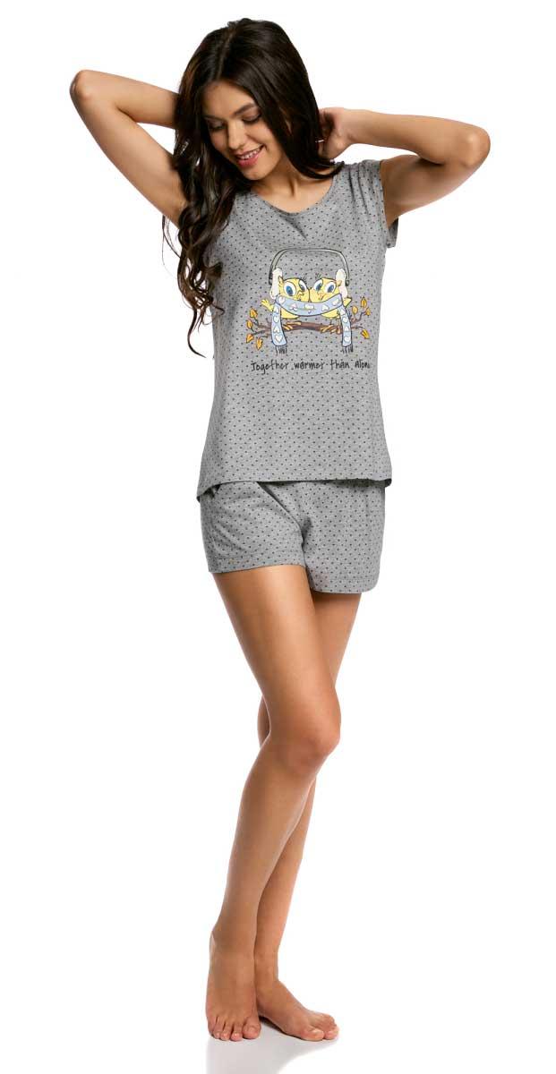 Пижама женская oodji Ultra, цвет: серый, голубой. 56002196-1/46889/2370P. Размер L (48)56002196-1/46889/2370PЖенская пижама от oodji, состоящая из футболки и шорт, выполнена из натурального хлопка. Футболка с короткими рукавами спереди оформлена принтом, шорты – с карманами.