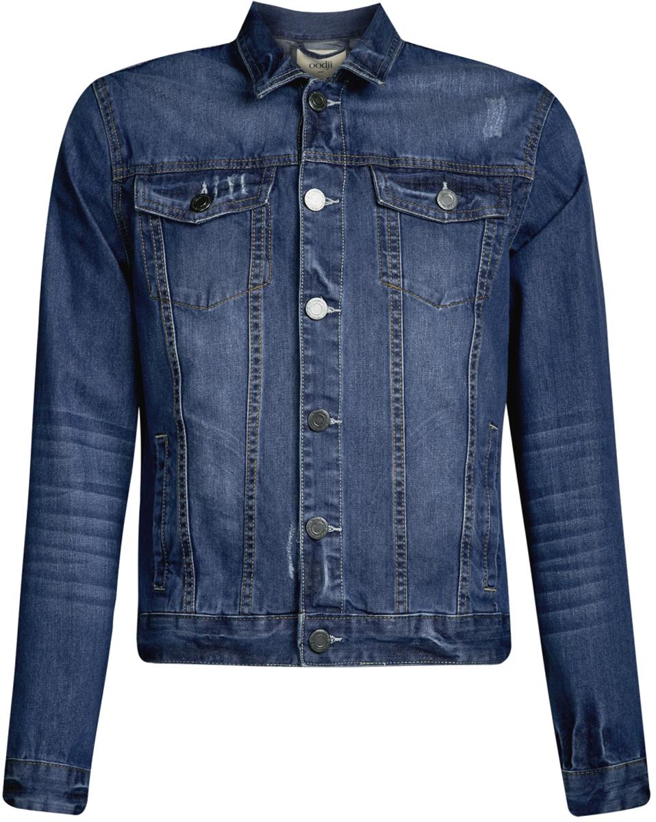 Куртка джинсовая мужская oodji Lab, цвет: синий джинс. 6L300005M/35771/7500W. Размер S-182 (46/48-182)6L300005M/35771/7500WМужская джинсовая куртка oodji Lab выполнена из высококачественного материала. Модель застегивается на пуговицы. Спереди расположено два прорезных кармана и два накладных с клапанами на пуговицах.