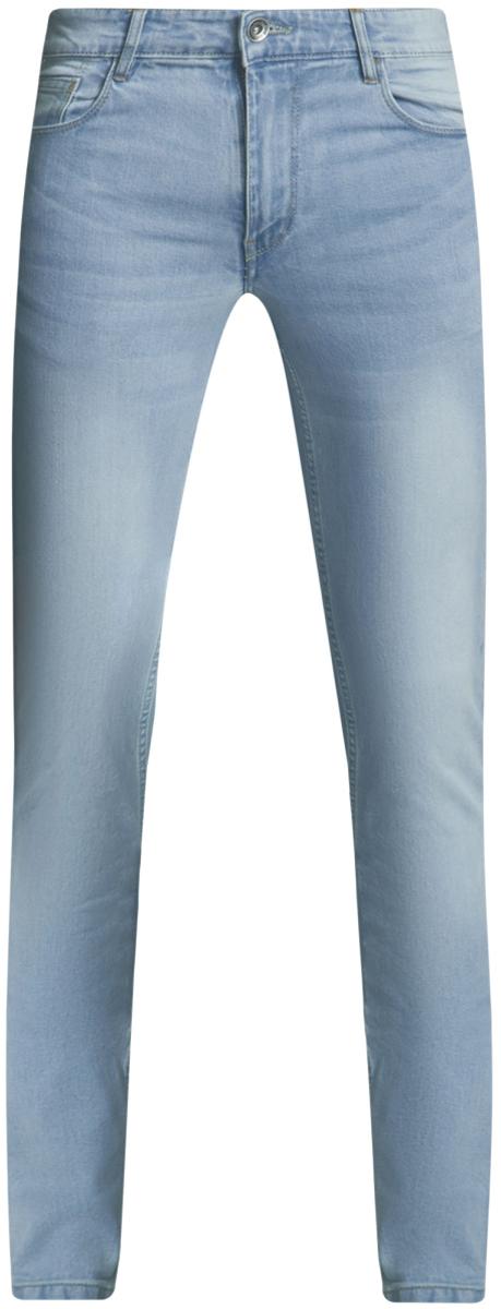Джинсы мужские oodji Basic, цвет: голубой джинс. 6B120049M/45594/7000W. Размер 34-32 (54-32)6B120049M/45594/7000WМужские джинсы oodji Basic выполнены из высококачественного материала. Модель-слим средней посадки по поясу застегивается на пуговицу и имеют ширинку на застежке-молнии, а также шлевки для ремня. Джинсы имеют классический пятикарманный крой: спереди - два втачных кармана и один маленький накладной, а сзади - два накладных кармана.