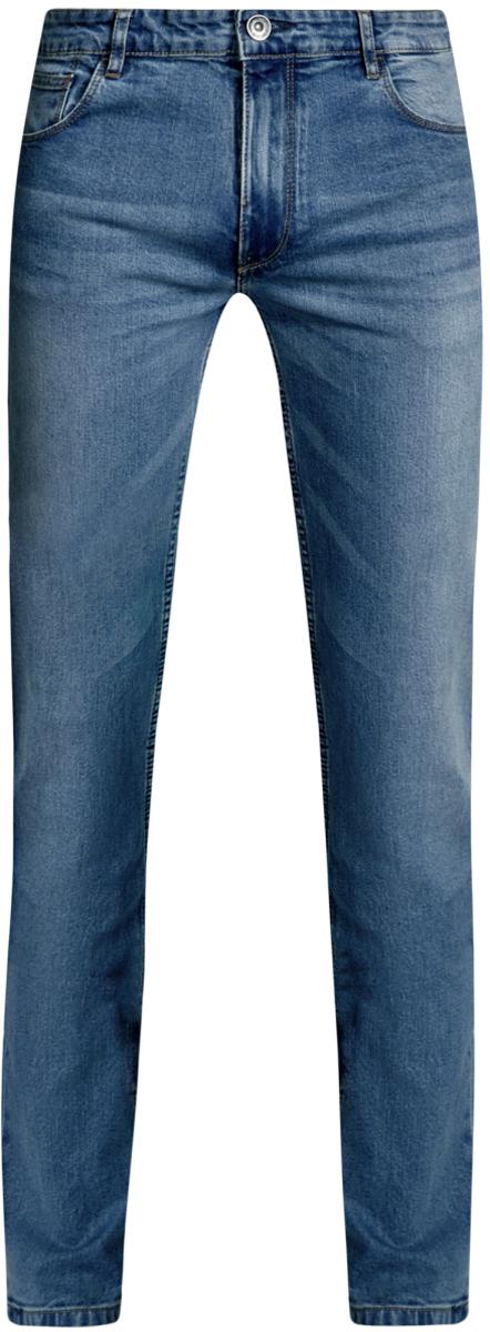 Джинсы мужские oodji Basic, цвет: синий джинс. 6B120049M/45594/7400W. Размер 34-34 (54-34)6B120049M/45594/7400WМужские джинсы oodji Basic выполнены из высококачественного материала. Модель-слим средней посадки по поясу застегивается на пуговицу и имеют ширинку на застежке-молнии, а также шлевки для ремня. Джинсы имеют классический пятикарманный крой: спереди - два втачных кармана и один маленький накладной, а сзади - два накладных кармана.
