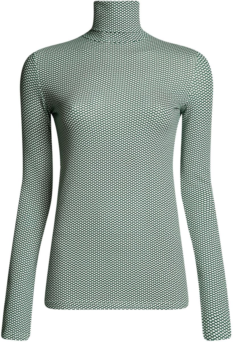 Водолазка женская oodji Ultra, цвет: темно-изумрудный, белый. 15E02001B/46147/6E12G. Размер M (46)15E02001B/46147/6E12GБазовая женская водолазка oodji Ultra выполнена из эластичной хлопковой ткани. У модели воротник-гольф и стандартные длинные рукава.