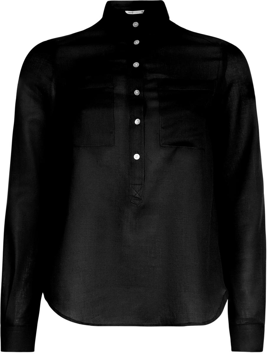Блузка женская oodji Ultra, цвет: черный. 11411101B/45561/2900N. Размер 44-170 (50-170)11411101B/45561/2900NЖенская блузка oodji Ultra выполнена из хлопковой ткани. Модель с отложным воротником и длинными стандартными рукавами. Спереди изделие дополнено накладными карманами и застегивается на пуговицы. Подол у блузки полукруглый.