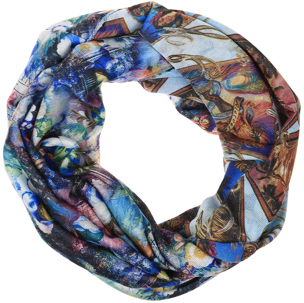 Снуд-хомут женский Vita Pelle, цвет: синий, коричневый. Ro01R2359-A3757-3. Размер 45 см х 70 смRo01R2359-A3757-3Легкий снуд-хомут от Vita Pelle выполнен из двустороннего трикотажного полотна и оформлен цветочным принтом. Кромка обработана оверлоком.