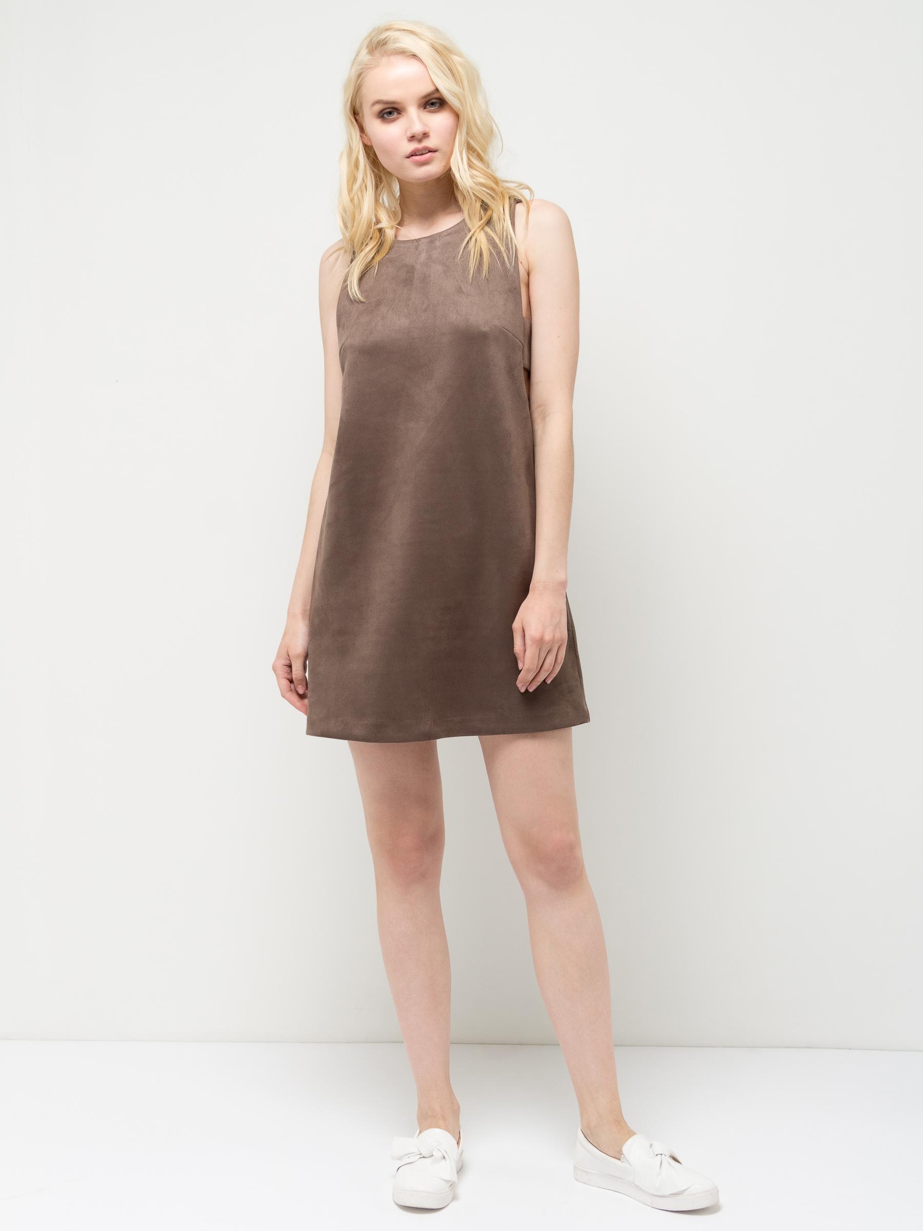 Платье Sela, цвет: серо-коричневый. Dksl-317/1147-7112. Размер S (44)Dksl-317/1147-7112Оригинальное женское платье-сарафан Sela выполнено из качественного трикотажа. Модель А-силуэта с круглым вырезом горловины застегивается на короткую металлическую молнию на спинке. Глубокие проймы дополнены широкими текстильными полосками. Платье мини-длины можно комбинировать с блузами и рубашками, благодаря чему оно подойдет не только для прогулок и дружеских встреч, но и для офиса. Мягкая ткань на основе полиэстера и эластана комфортна и приятна на ощупь.