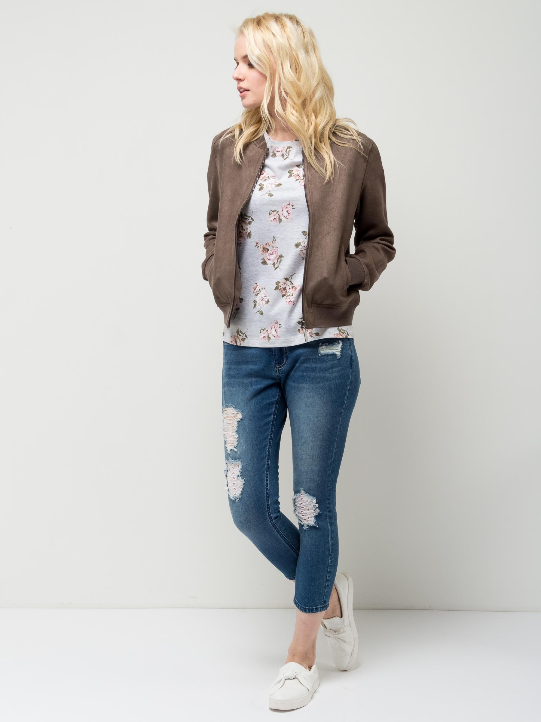 Куртка женская Sela, цвет: серо-коричневый. JTk-316/1145-7112. Размер S (44)JTk-316/1145-7112Стильная женская куртка-бомбер Sela, выполненная из качественного эластичного материала, станет отличным дополнением гардероба каждой модницы. Модель полуприлегающего кроя с круглым вырезом горловины застегивается на молнию и дополнена двумя прорезными карманами. Манжеты длинных рукавов, воротник и низ изделия дополнены резинкой. Куртка подойдет для прогулок и дружеских встреч и будет отлично сочетаться с джинсами и брюками.
