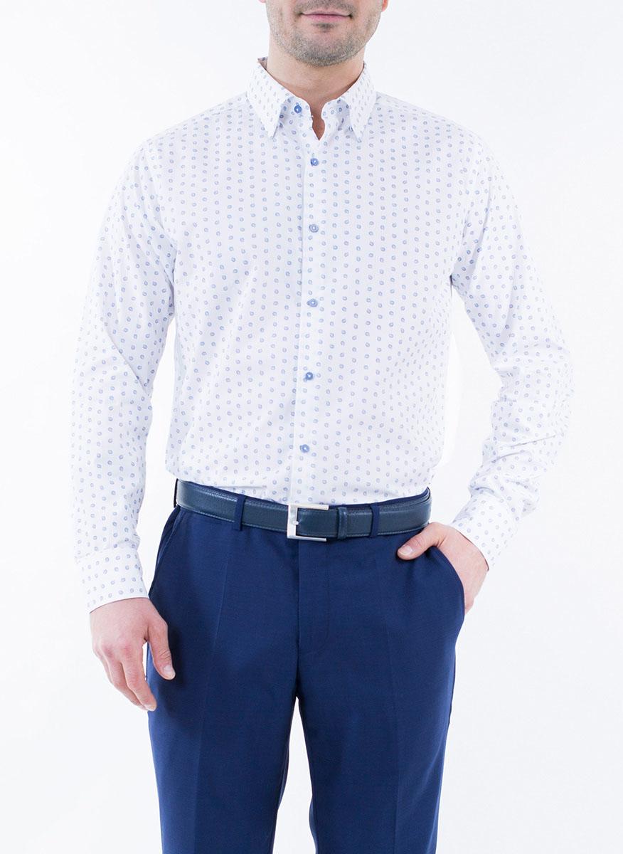 Рубашка мужская Alfred Muller, цвет: белый, синий. 1-171-04-1343. Размер 45 (56)1-171-04-1343Мужская рубашка Alfred Muller выполнена из 100% хлопка. Имеет отложной воротничок и длинные рукава. Застегивается на пластиковые пуговицы спереди и на манжетах. Изнутри подшиты две запасные пуговицы. Рубашка оформлена принтом с пейсли.