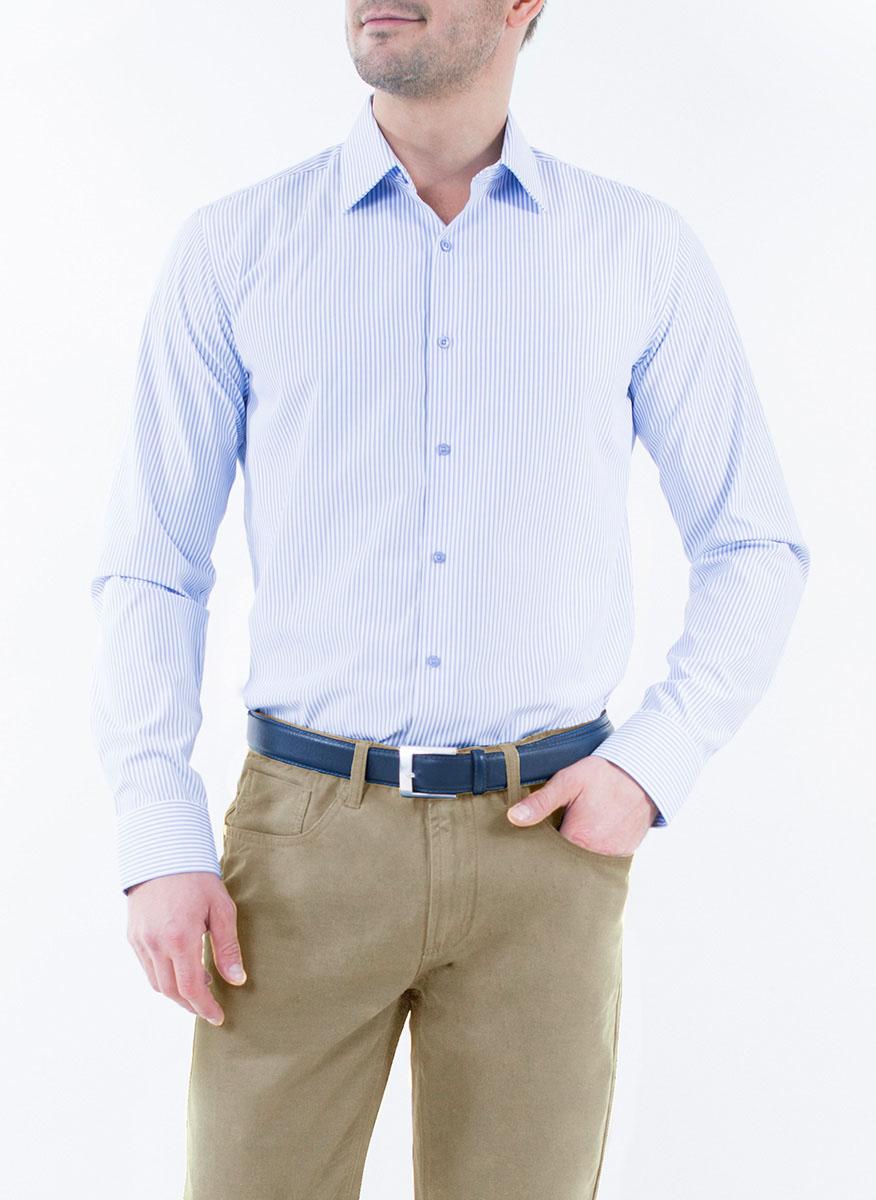 Рубашка мужская Greg Horman, цвет: светло-голубой. 2-171-20-1374. Размер 43 (52)2-171-20-1374Мужская рубашка Greg Horman выполнена из хлопка с добавлением полиэстера. Модель полуприталенного силуэта с отложным воротником и длинными рукавами оформлена принтом в полоску. Изделие застегивается по всей длине на пуговицы, украшенные символикой бренда. Манжеты рукавов также застегиваются на пуговицы. Удобный крой, выверенный силуэт и безупречное исполнение делает эту рубашку уникальным решением для стильных образов и незаменимым атрибутом мужского гардероба.