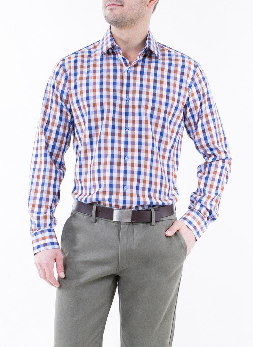Рубашка мужская Greg Horman, цвет: коричневый, синий, белый. 2-171-20-1386. Размер 44 (54)2-171-20-1386Мужская рубашка Greg Horman выполнена из хлопка с добавлением полиэстера. Модель полуприталенного силуэта с отложным воротником и длинными рукавами оформлена принтом в клетку. Изделие застегивается по всей длине на пуговицы, украшенные символикой бренда. Манжеты рукавов также застегиваются на пуговицы. Удобный крой, выверенный силуэт и безупречное исполнение делает эту рубашку уникальным решением для стильных образов и незаменимым атрибутом мужского гардероба.