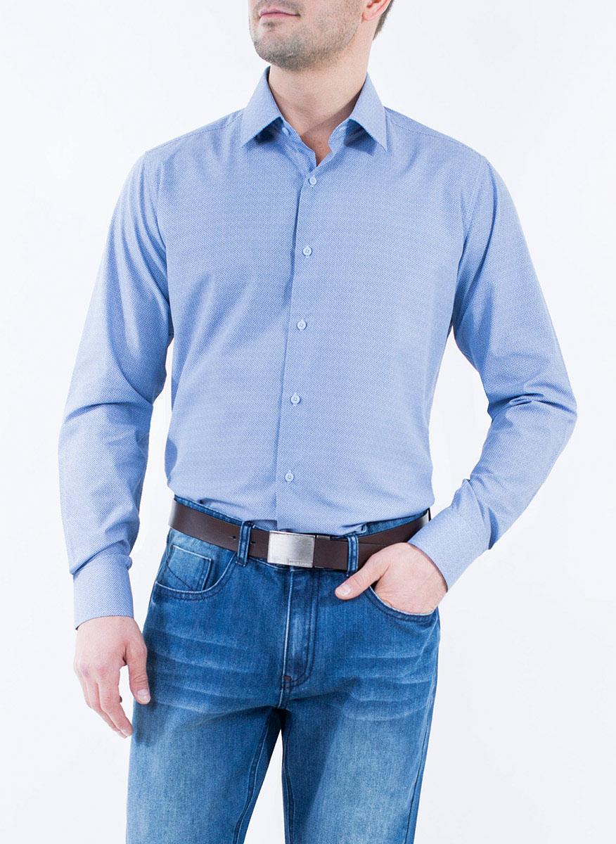 Рубашка мужская Greg Horman, цвет: синий, белый. 2-171-20-1393. Размер 40 (48)2-171-20-1393Мужская рубашка Greg Horman выполнена из хлопка с добавлением полиэстера. Модель полуприталенного силуэта с отложным воротником и длинными рукавами оформлена мелким принтом. Изделие застегивается по всей длине на пуговицы, украшенные символикой бренда. Манжеты рукавов также застегиваются на пуговицы. Удобный крой, выверенный силуэт и безупречное исполнение делает эту рубашку уникальным решением для стильных образов и незаменимым атрибутом мужского гардероба.