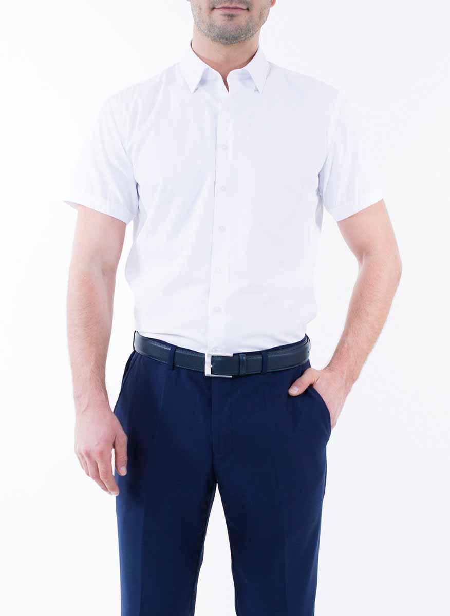Рубашка мужская Greg Horman, цвет: белый. 2-171-20-1469. Размер 40 (48)2-171-20-1469Мужская рубашка Greg Horman выполнена из хлопка с добавлением полиэстера. Модель полуприталенного силуэта с отложным воротником и короткими рукавами застегивается по всей длине на пуговицы, оформленные символикой бренда. Удобный крой, выверенный силуэт и безупречное исполнение делает эту рубашку уникальным решением для стильных образов и незаменимым атрибутом мужского гардероба.