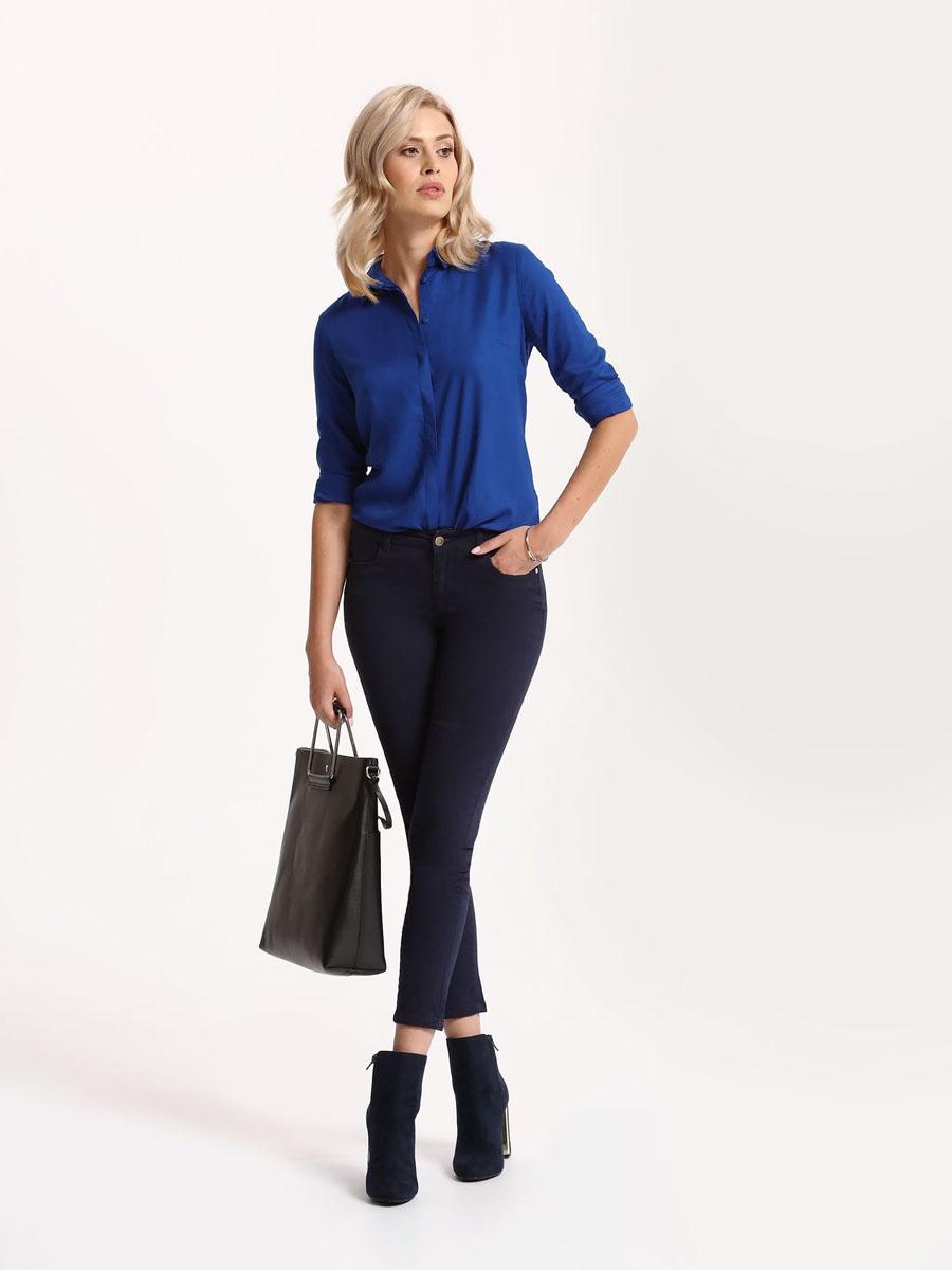 Рубашка женская Top Secret, цвет: синий. SKL2221NI40[E]. 40 (48)SKL2221NIРубашка женская Top Secret выполнена из 100% вискозы. Модель с отложным воротником застегивается на пуговицы.