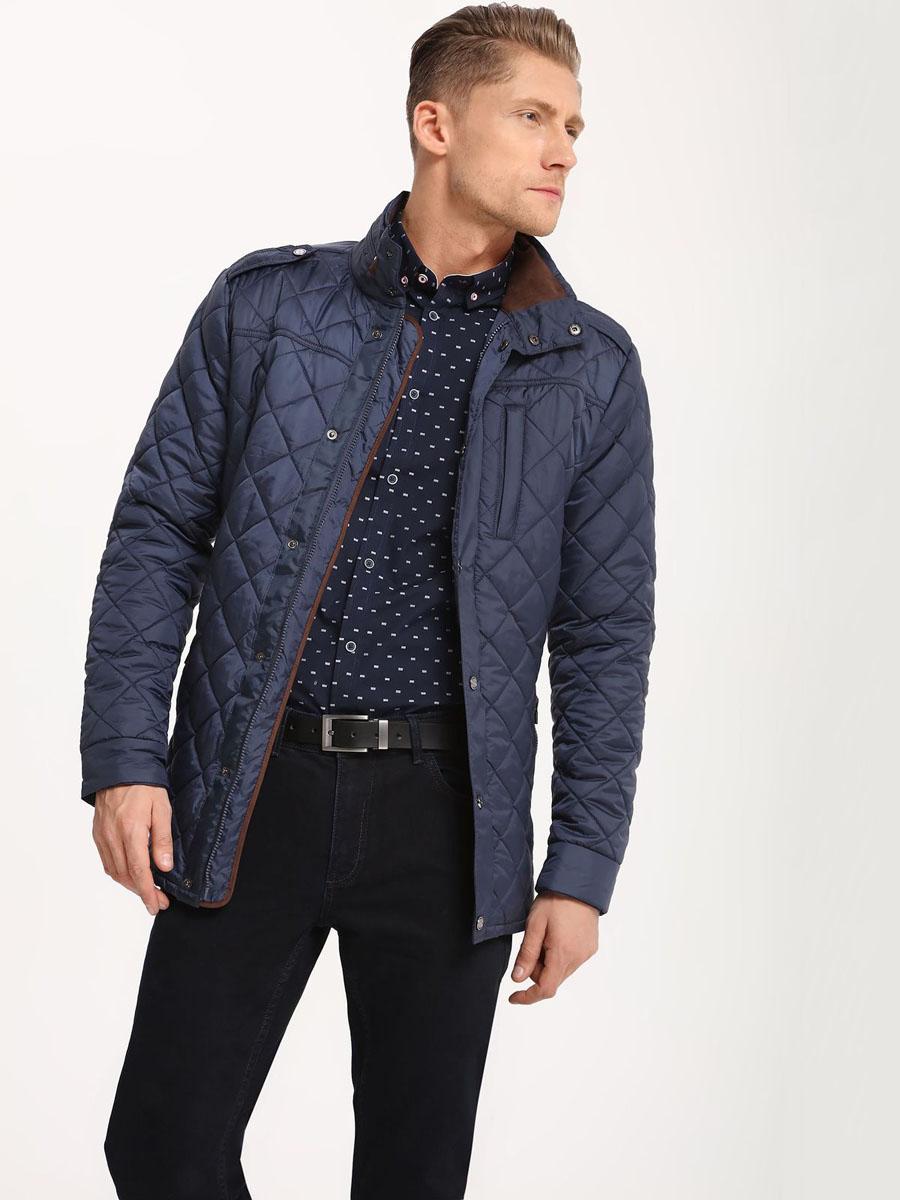 Куртка мужская Top Secret, цвет: темно-синий. SKU0753GRS5. XL (52)SKU0753GRМужская куртка Top Secret выполнена из полиэстера. Модель с воротником стойкой и длинными рукавами застегивается на кнопки и застежку-молнию.