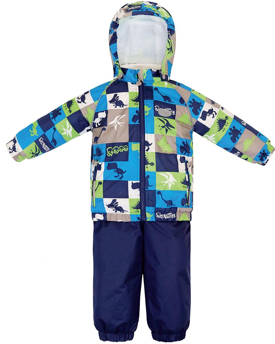 Комплект верхней одежды для мальчика Reike Динозаврики: куртка, полукомбинезон, цвет: синий. 36935220. Размер 98, 3 года36 935 220_Dinos blueКомплект для мальчика Reike Динозаврики, состоящий из куртки и полукомбинезона, выполнен из ветрозащитной, водонепроницаемой и дышащей мембранной ткани, декорированной принтом с забавными зайчиками. Подкладка - натуральный хлопок с велюровыми вставками на воротнике и манжетах. Куртка дополнена съемным капюшоном, двумя карманами на молнии, а также светоотражающими элементами. Внутренняя ветрозащитная планка вдоль молнии не допускает проникновения холодного воздуха. Манжеты рукавов и низ изделия собраны на резинку.Эластичная талия полукомбинезона и регулируемые подтяжки гарантируют удобную посадку по фигуре, длинная молния впереди облегчает процесс одевания. Полукомбинезон оснащен боковым карманом на молнии и съемными штрипками.Особенности комплекта: - утеплитель в куртке 60 г, полукомбинезон без утепления;- базовый уровень;- коэффициент воздухопроницаемости: 2000гр/м2/24 ч;- водоотталкивающее покрытие: 2000 мм.