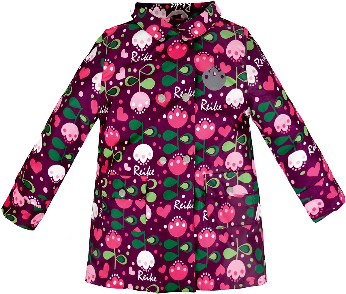 Куртка для девочки Reike Тюльпан, цвет: бордовый. 36939003. Размер 104, 4 года36 939 003_Tulip bordeauxСтильная куртка для девочки Reike Тюльпан выполнена из ветрозащитного, водоотталкивающего и дышащего материала с подкладкой из микрофлиса, обеспечивающей дополнительный комфорт. Расклешенная модель в ретро-стиле выполнена с имитацией двубортной застежки на кнопках и дополнена двумя накладными карманами с клапанами. В виде интересного акцента выступают отложной воротник, ремешки на рукавах и складка на спинке. Изделие оснащено светоотражающим элементоми оформлено ярким цветочным принтом в стиле серии. Особенности изделия:- базовый уровень; - коэффициент воздухопроницаемости: 2000гр/м2/24 ч;- водоотталкивающее покрытие: 2000 мм.