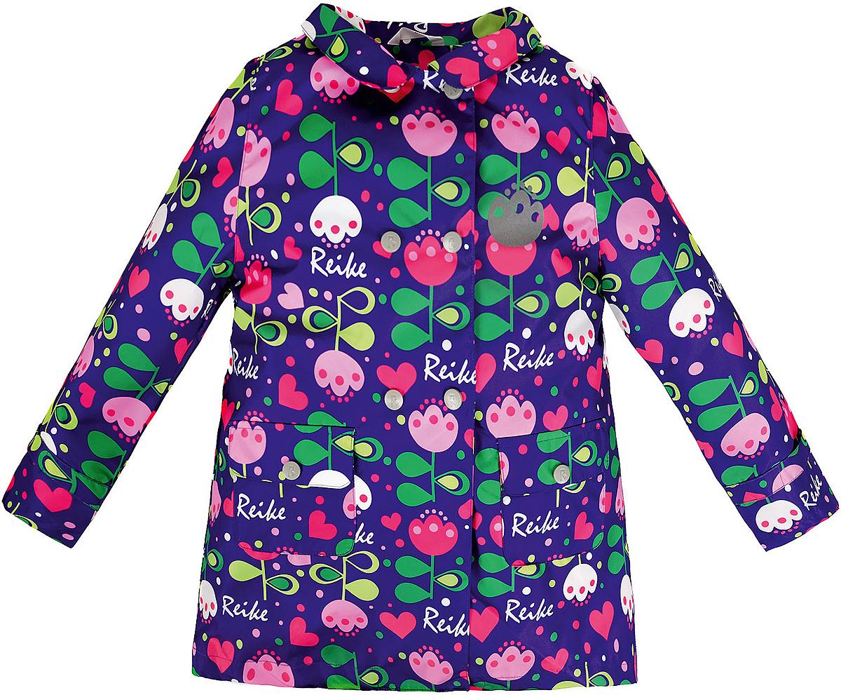 Куртка для девочки Reike Тюльпан, цвет: фиолетовый. 36939335. Размер 116, 6 лет36 939 335_Tulip violetСтильная куртка для девочки Reike Тюльпан выполнена из ветрозащитного, водоотталкивающего и дышащего материала с подкладкой из микрофлиса, обеспечивающей дополнительный комфорт. Расклешенная модель в ретро-стиле выполнена с имитацией двубортной застежки на кнопках и дополнена двумя накладными карманами с клапанами. В виде интересного акцента выступают отложной воротник, ремешки на рукавах и складка на спинке. Изделие оснащено светоотражающим элементоми оформлено ярким цветочным принтом в стиле серии. Особенности изделия:- базовый уровень; - коэффициент воздухопроницаемости: 2000гр/м2/24 ч;- водоотталкивающее покрытие: 2000 мм.