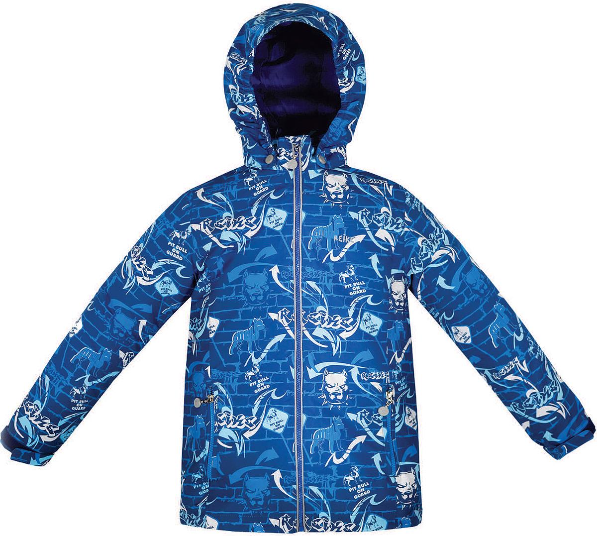 Куртка для мальчика Reike Питбуль, цвет: синий. 36941220. Размер 140, 10 лет36 941 220_Pitbull blueСтильная куртка для мальчика Reike Питбуль выполнена из ветрозащитного, водоотталкивающего и дышащего мембранного материала с подкладкой из микрофлиса. Модель с воротником-стойкой, защищающим от ветра, застегивается на молнию с защитой подбородка и оформлена молодежным принтом в стиле серии. Манжеты рукавов на резинке дополнительно регулируются с помощью липучек. Модель дополнена съемным капюшоном, утянутым резинкой, двумя прорезными карманами на молниях и светоотражающими элементами на спине. Особенности изделия:- базовый уровень; - коэффициент воздухопроницаемости: 2000гр/м2/24 ч;- водоотталкивающее покрытие: 2000 мм.
