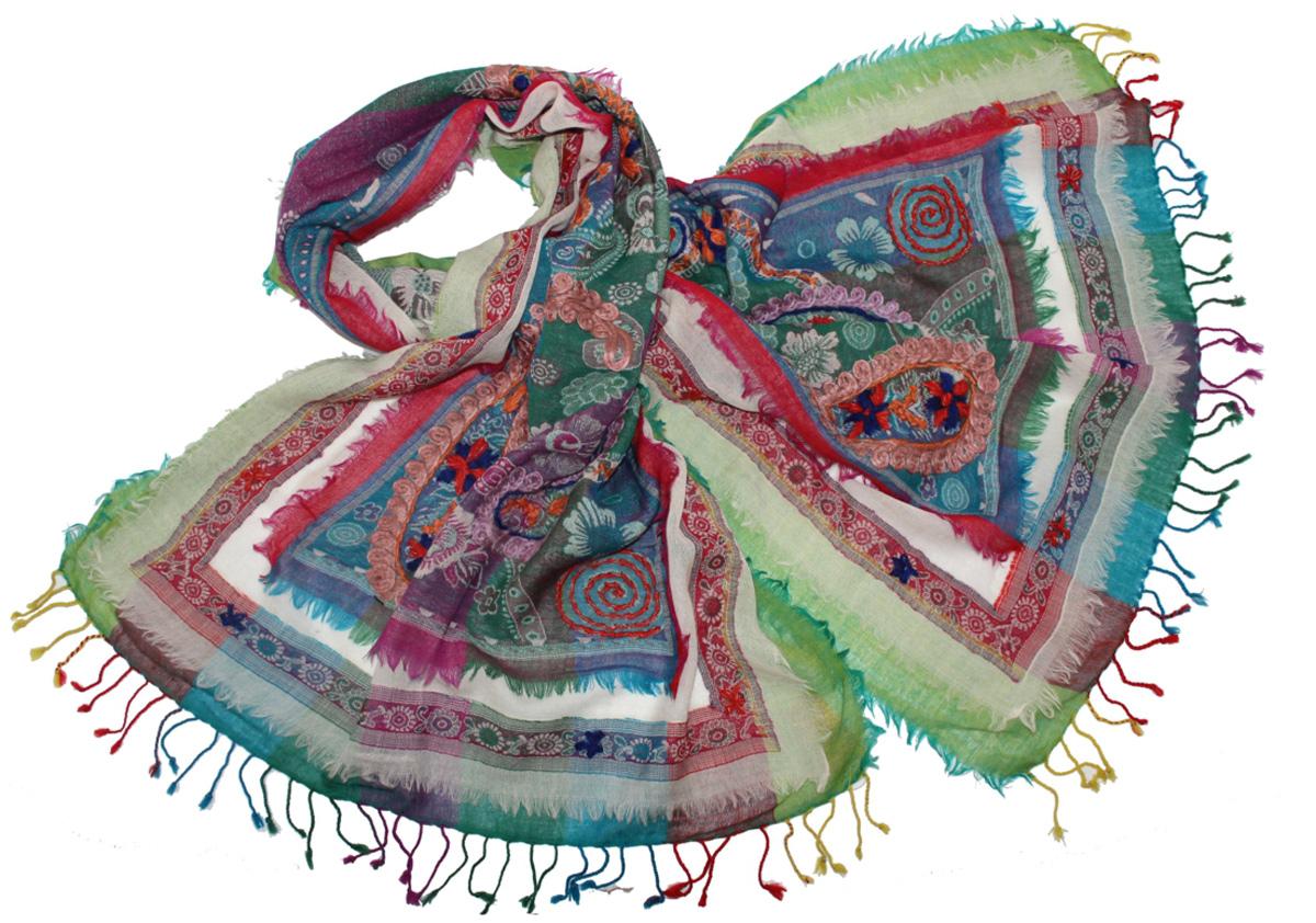 Палантин Ethnica, цвет: зеленый, красный, голубой. 577750н. Размер 70 см х 180 см577750нЭффектный палантин Ethnica подчеркнет ваш неповторимый образ. Изделие выполнено из 100% шерсти, оформлено оригинальным принтом и вышивкой.Этот модный аксессуар гармонично дополнит ваш образ.