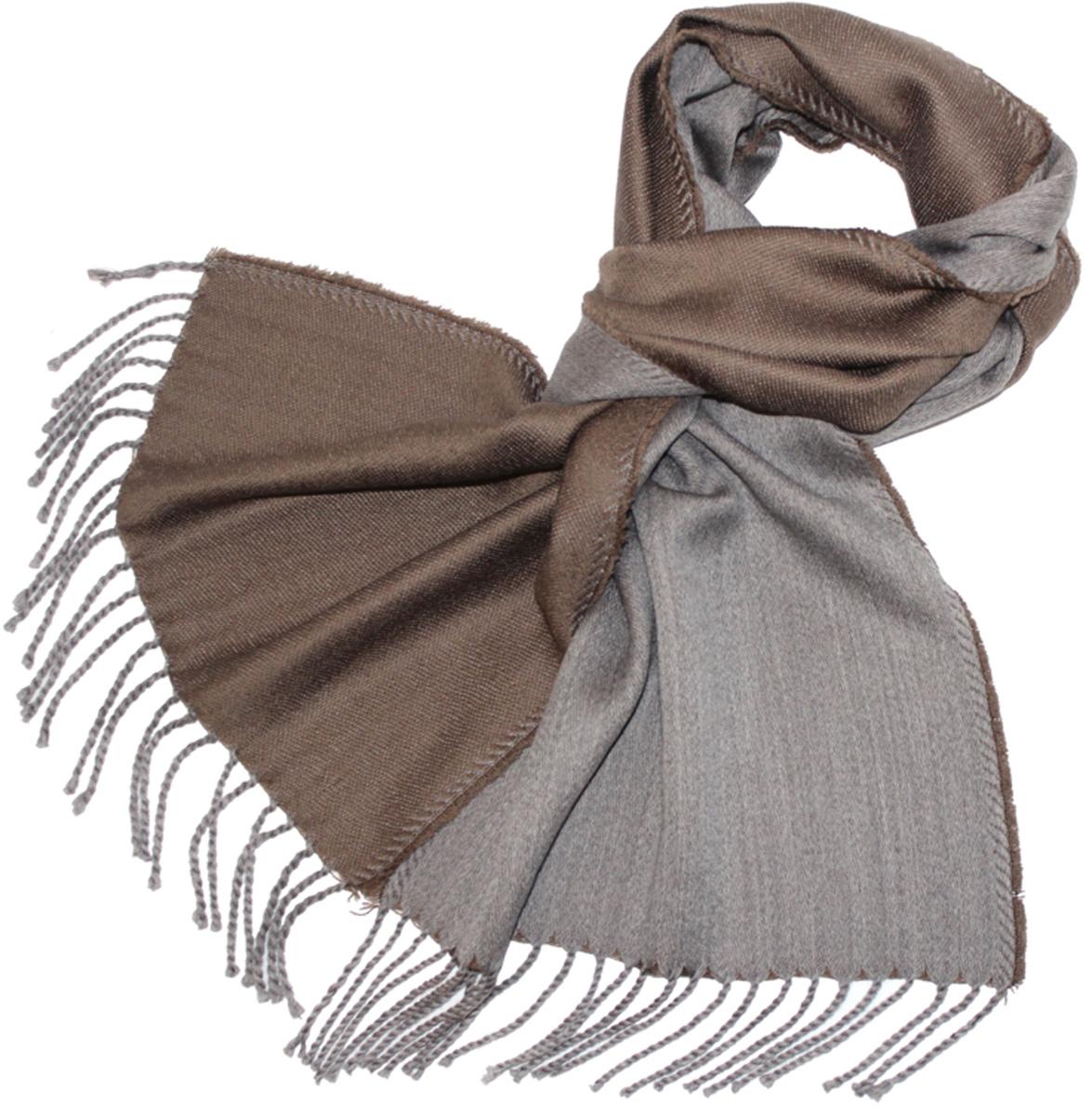 Шарф мужской Ethnica, цвет: коричневый, серый. 121480а. Размер 35 см х 180 см121480аМужской шарф Ethnica, изготовленный из 100% шерсти, подчеркнет вашу индивидуальность. Благодаря своему составу, он легкий, мягкий и приятный на ощупь. Изделие выполнено в лаконичном двухцветном дизайне и дополнено кисточками.Такой аксессуар станет стильным дополнением к вашему гардеробу.