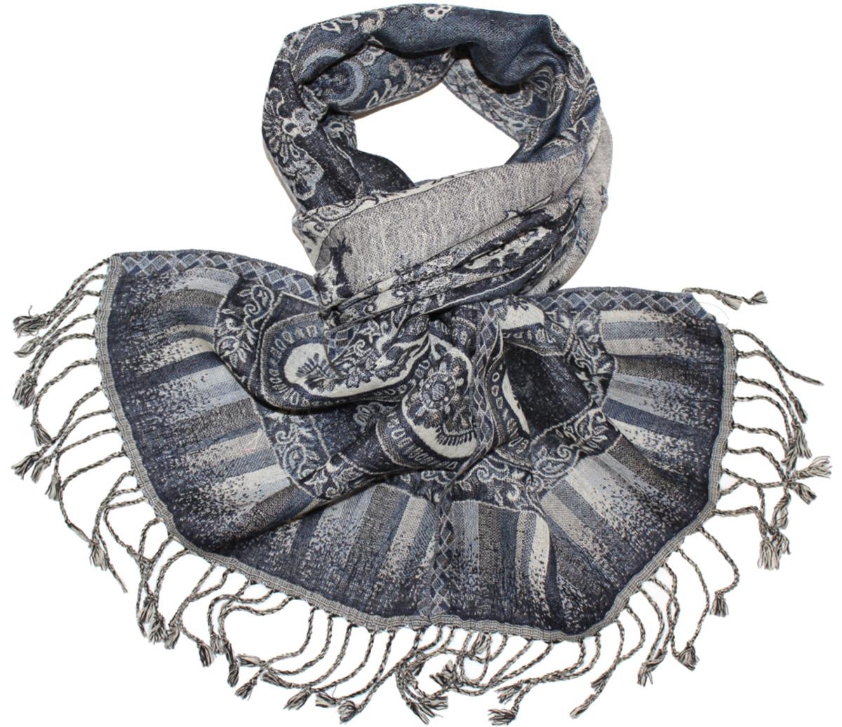 Шарф женский Ethnica, цвет: синий, серый. 013275а. Размер 30 см х 160 см013275аЖенский шарф Ethnica, изготовленный из 100% шерсти, подчеркнет вашу индивидуальность. Благодаря своему составу, он легкий, мягкий и приятный на ощупь. Изделие декорировано оригинальным принтом и дополнено кисточками.Такой аксессуар станет стильным дополнением к гардеробу современной женщины.