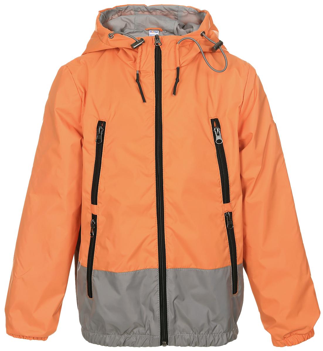 Куртка для мальчика Boom!, цвет: оранжевый. 70038_BOB_вар.2. Размер 146, 10-11 лет70038_BOB_вар.2Легкая куртка для мальчика Boom! c длинными рукавами и несъемным капюшоном выполнена из прочного полиэстера. Модель застегивается на застежку-молнию спереди. Объем капюшона регулируется при помощи шнурка-кулиски со стопперами. Изделие имеет четыре прорезных кармана на застежках-молниях спереди. Рукава оснащены широкими эластичными манжетами. Модель растет вместе с ребенком: специальный крой позволяет при необходимости увеличить длину рукавов на один размер.