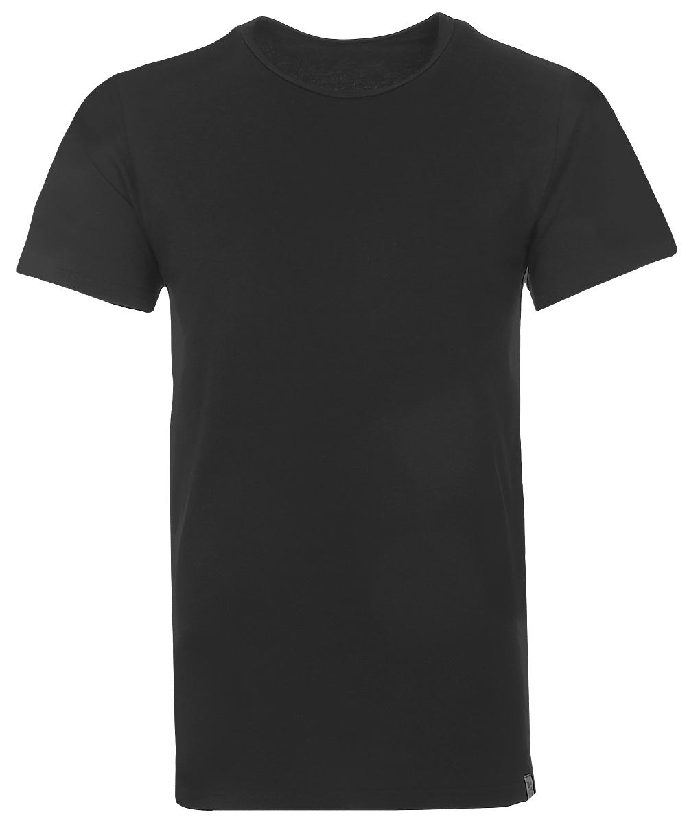 Футболка мужская Griff, цвет: черный. U01321. Размер XXL (52)U01321Мужская футболка Griff с короткими рукавами и круглым вырезом горловины выполнена из хлопка с добавлением эластана. Однотонная футболка великолепно тянется, не сковывает движения и превосходно сидит.