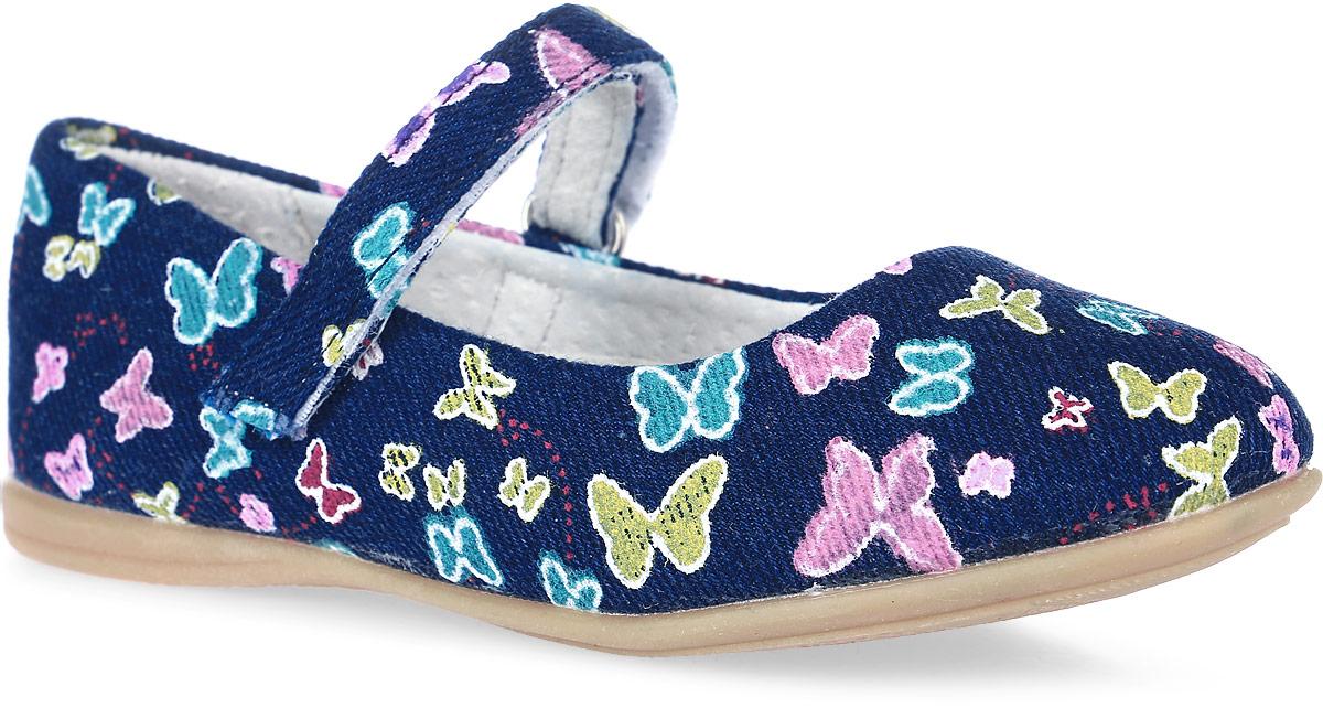 Туфли для девочки Mursu, цвет: темно-синий, мультиколор. 101610. Размер 27101610Туфли Mursu выполнены из текстиля и оформлены оригинальным принтом. На ноге модель фиксируется с помощью ремешка с застежкой-липучкой. Внутренняя поверхность и стелька выполнены из натуральной кожи, комфортной при движении. Стелька дополнена небольшим супинатором с перфорацией, который обеспечивает правильное положение стопы ребенка при ходьбе и предотвращает плоскостопие. Подошва изготовлена из прочного ТЭП-материала и дополнена рельефным рисунком.