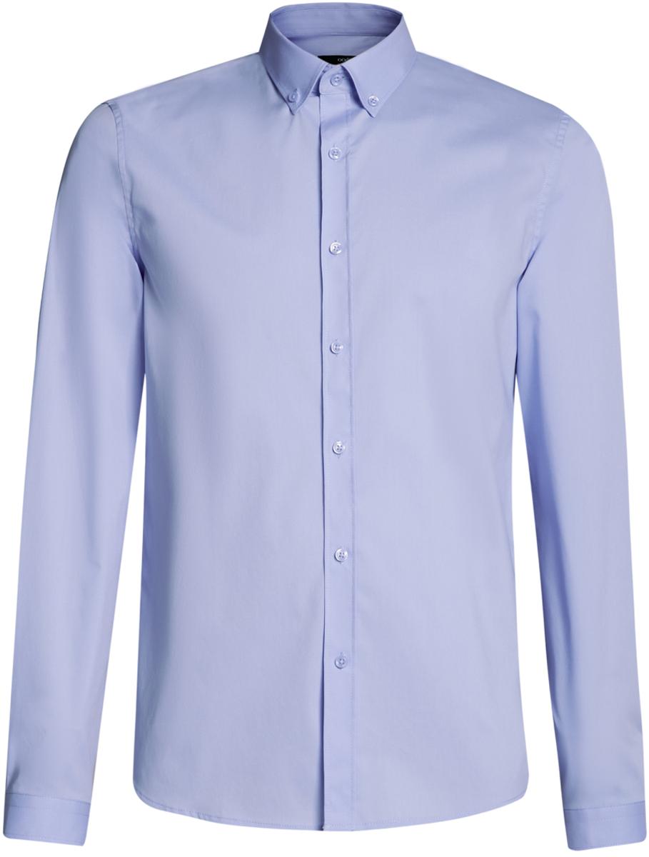 Рубашка мужская oodji Basic, цвет: голубой. 3B140002M/34146N/7000N. Размер 38-182 (44-182)3B140002M/34146N/7000NМужская базовая рубашка от oodji выполнена из натурального хлопка. Модель приталенного кроя с длинными рукавами застегивается на пуговицы.