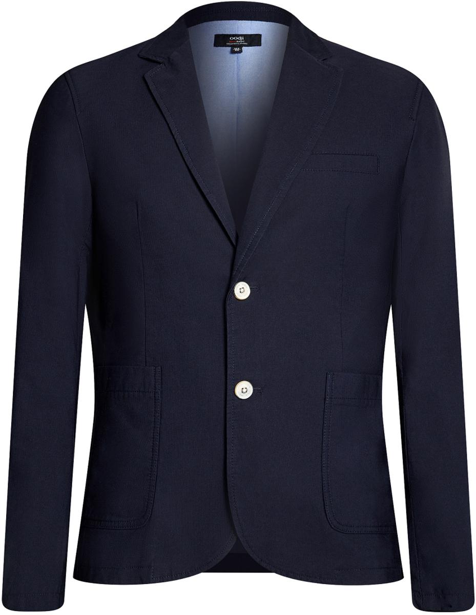 Пиджак мужской oodji Basic, цвет: темно-синий. 2B510005M/39355N/7900N. Размер 56-182 (56-182)2B510005M/39355N/7900NМужской пиджак от oodji выполнен из натурального хлопка. Модель с накладными карманами, лацканами и длинными рукавами застегивается на пуговицы.