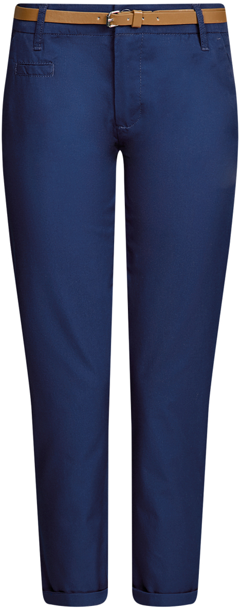 Брюки женские oodji Ultra, цвет: темно-синий. 11706193B/42841/7901N. Размер 40-170 (46-170)11706193B/42841/7901NЖенские брюки oodji Ultra выполнены из высококачественного материала. Модель-чинос стандартной посадки застегивается на пуговицу в поясе и ширинку на застежке-молнии. Пояс имеет шлевки для ремня. Спереди брюки дополнены втачными карманами, сзади - прорезными на пуговицах. К модели прилагается ремешок.