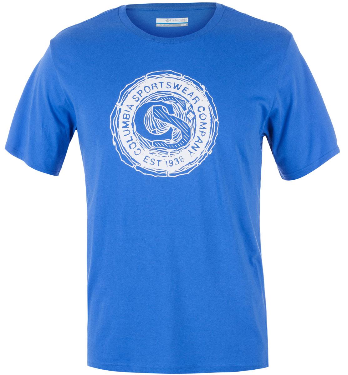 Футболка мужская Columbia Carved Ridge SS T-shirt, цвет: синий. 1713461-426. Размер L (48/50)1713461-426Футболка Columbia - оптимальный вариант для активного отдыха и повседневного использования. Модель выполнена из хлопка, что обеспечивает максимально комфортные ощущения во время использования. Крупный принт на груди придает изделию оригинальность.