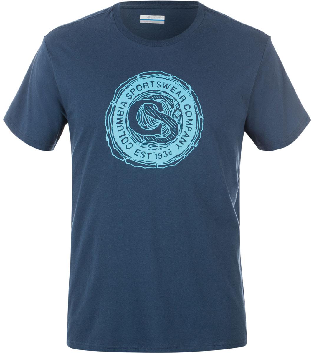 Футболка мужская Columbia Carved Ridge SS T-shirt, цвет: темно-синий. 1713461-492. Размер S (44/46)1713461-492Футболка Columbia - оптимальный вариант для активного отдыха и повседневного использования. Модель выполнена из хлопка, что обеспечивает максимально комфортные ощущения во время использования. Крупный принт на груди придает изделию оригинальность.