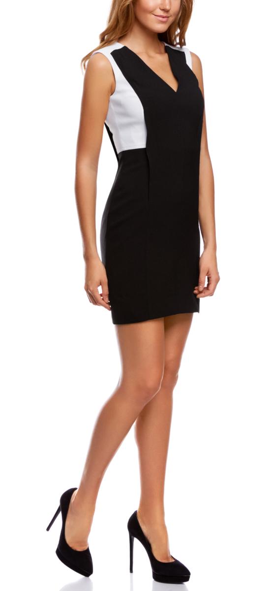 Платье oodji Ultra, цвет: черный, белый. 11900226/43859/2910B. Размер 36-164 (42-164)11900226/43859/2910BСтильное платье oodji Ultra, выгодно подчеркивающее достоинства фигуры, - отличный вариант для работы и неофициальных мероприятий. Модель мини-длины выполнена из плотной ткани с контрастными вставками, создающими эффект 2 в 1. Платье с открытыми плечами и глубоким V-образным вырезом горловины застегивается на скрытую застежку-молнию по спинке.