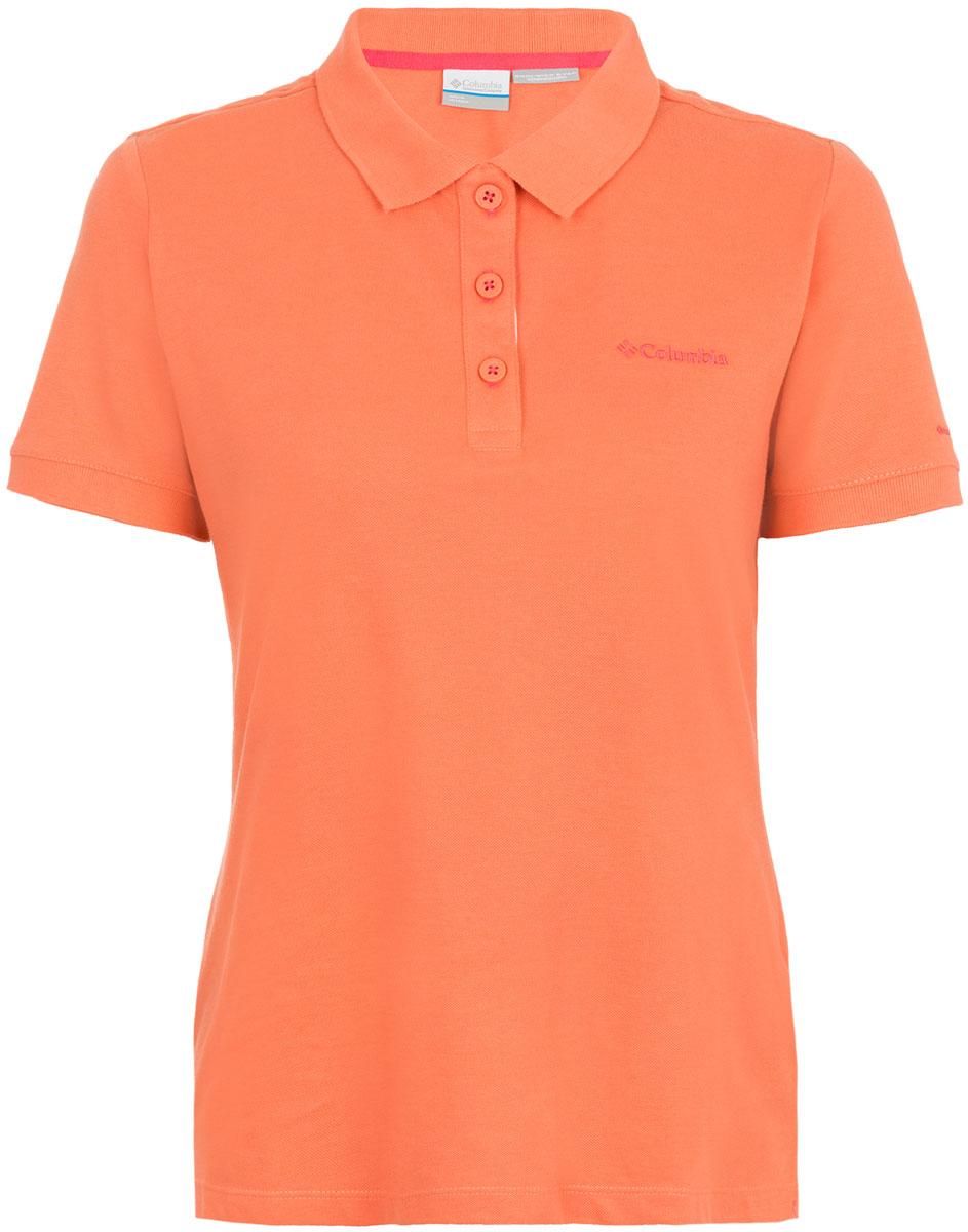 Поло женское Columbia Cascade Range Solid Polo, цвет: оранжевый. 1715481-867. Размер L (48)1715481-867Женское поло Columbia выполнено из хлопка и полиэстера. Модель с отложным воротником и коротким рукавом оформлена вышивкой с названием бренда.