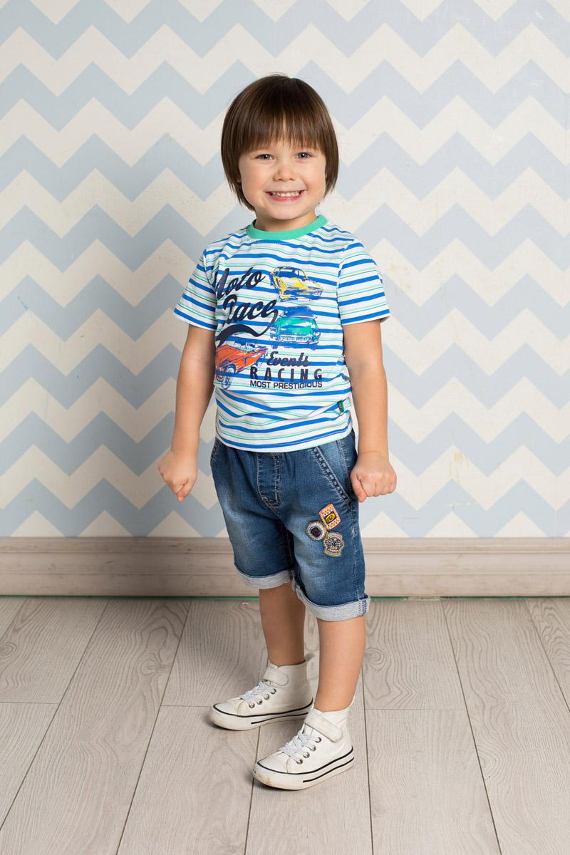 Бриджи для мальчика Sweet Berry Baby, цвет: синий. 711013. Размер 98711013Стильные джинсовые бриджи для мальчика Sweet Berry выполнены из мягкого материала с эффектом потертости. Бриджи с отворотами имеют пояс на мягкой резинке, дополнительно регулируемый шнурком. Модель спереди дополнена двумя прорезными карманами и оформлена оригинальной аппликацией.