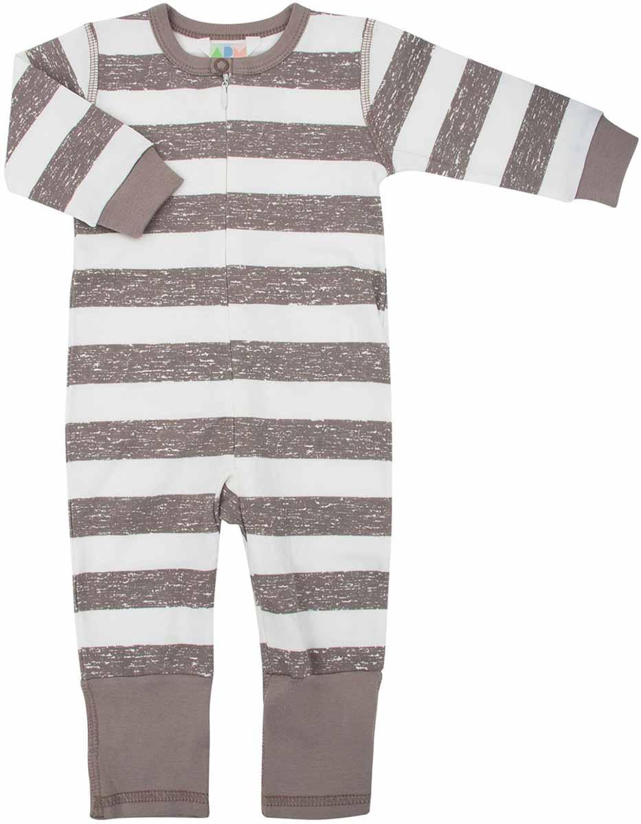 Комбинезон для мальчиков Axiome De Mode, цвет: бежевый полоса. 16-8303. Размер 62, 3мес16-8303