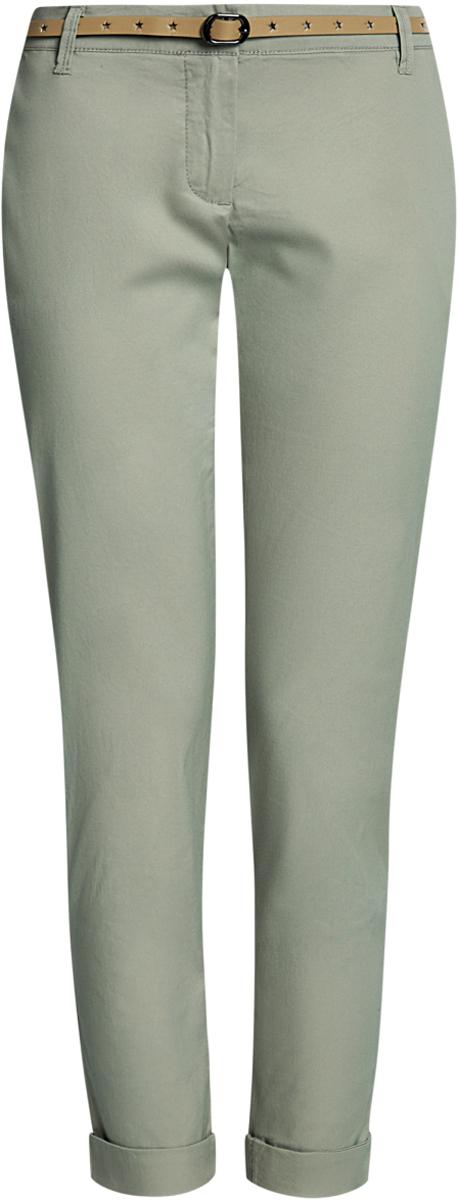 Брюки женские oodji Ultra, цвет: светло-зеленый. 11706190-3B/32887/6000N. Размер 42-170 (48-170)11706190-3B/32887/6000NЖенские брюки oodji Ultra выполнены из высококачественного материала. Модель-чинос стандартной посадки застегивается на пуговицу в поясе и ширинку на застежке-молнии. Пояс имеет шлевки для ремня. Спереди брюки дополнены втачными карманами, сзади - прорезными. К брюкам прилагается ремешок.