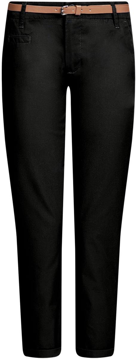 Брюки женские oodji Ultra, цвет: черный. 11706193B/42841/2900N. Размер 42-170 (48-170)11706193B/42841/2900NЖенские брюки oodji Ultra выполнены из высококачественного материала. Модель-чинос стандартной посадки застегивается на пуговицу в поясе и ширинку на застежке-молнии. Пояс имеет шлевки для ремня. Спереди брюки дополнены втачными карманами, сзади - прорезными на пуговицах. К модели прилагается ремешок.