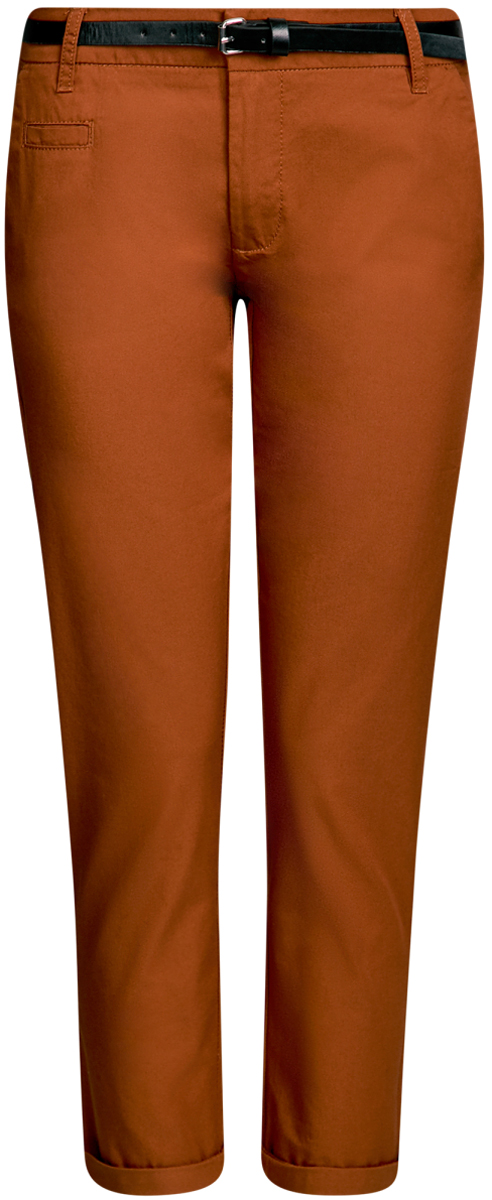 Брюки женские oodji Ultra, цвет: терракотовый. 11706193B/42841/3100N. Размер 38-170 (44-170)11706193B/42841/3100NЖенские брюки oodji Ultra выполнены из высококачественного материала. Модель-чинос стандартной посадки застегивается на пуговицу в поясе и ширинку на застежке-молнии. Пояс имеет шлевки для ремня. Спереди брюки дополнены втачными карманами, сзади - прорезными на пуговицах. К модели прилагается ремешок.